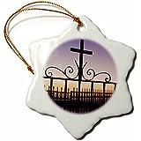 3drose Danita Delimont––ギリシャ、サントリーニ島、キリスト教Fira、アイアンクロス、キリスト教― dgu0012–Darrell Gulin–Ornaments 3 inch Snowflake Porcelain Ornament orn_81823_1