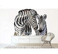 Chunxd ダブルゼブラ3D動物壁紙壁画用リビングルーム背景3D壁写真壁画壁紙3D動物ステッカー-450X300Cm