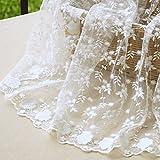 IRIZ 130*90cm花刺繍メッシュレースファブリック生地 ホワイト (Pattern A)