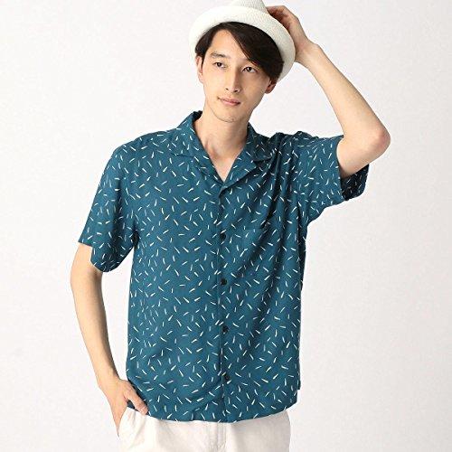 コムサイズムメンズ(COMME CA ISM) アート柄プリントオープンカラーシャツ【ブルー(22)/L】