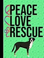 Peace Love Rescue: School Composition Notebook 100 Pages Wide Ruled Lined Paper Greater Swiss Mountain Dog Green Cover