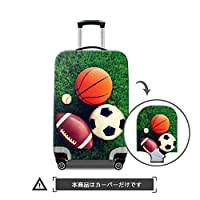 "TOWIN(トーウィン)スーツケースカバー 3Dプリント 伸縮素材 トランク保護 汚れ 傷 防止 S/M/Lサイズ 20""/24""/28""inch サッカー柄 CN-Suitcasecover-football-6-M"