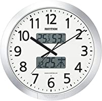 掛け時計 電波時計 36回チャイム機能 溫度?濕度計付き シルバー リズム時計 4FN404SR19