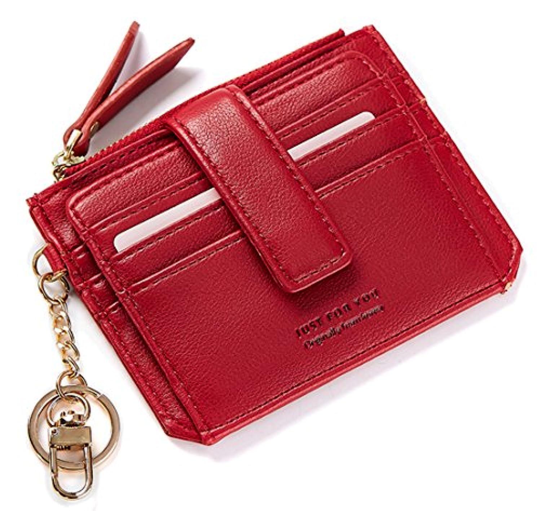 女性と女の子のためのSEAOEEYレディースミニクレジットカードホルダー財布コインジッパーポケット