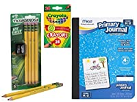 Writing Bundle for PreK to Grade 2 (Primary Pencils and Journal Sharpener and Crayons) [並行輸入品]