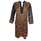 Bohemian Chic Designs Womens Ethnic Indian Long Tunic Beautiful Floral Embroidered Boho Beach Bikini Cover Up Summer Kaftan Dress