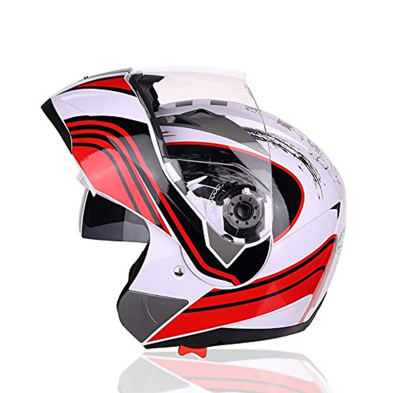 レイ意図するリフレッシュHYH オートバイヘルメットオープンフェイスヘルメットダブルレンズ男性と女性の電気自動車四季オートバイヘルメットヘルメットグリーン/レッド/ホワイト いい人生 (Color : Red, Size : L)
