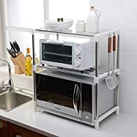 PENGFEI オープンシェルフラック キッチン収納りキッチンラック収納棚キッチンラックワゴン電子レンジ鍋用品ストレージ多機能ステンレス鋼、黒/白、6フック、55 * 30.5 * 62cm 家具スパイスキッチン (色 : White#2)