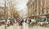 手描き-キャンバスの油絵 - la Madeleine Eugene Galien Parisian 芸術 作品 洋画 -サイズ09