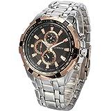 選べる 7 色 クロノ グラフ 高級 ファッション クォーツ 腕 時計 かっこいい おしゃれ メンズ スポーツ デザイン ウォッチ アナログ 表示 【 BOX 時計 拭き 付 】 (シルバー&ゴールド)