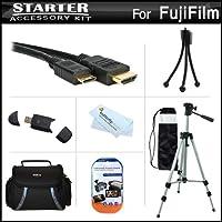スターターアクセサリーキットfor the Fuji Fujifilm X - Pro 1、X - pro1、x-a2デジタルカメラはデラックス携帯ケース+ 50三脚with Case + Mini HDMIケーブル+ USB 2.0カードリーダー+ LCDスクリーンプロテクター+ミニ卓上三脚+マイクロファイバークリーニングクロス