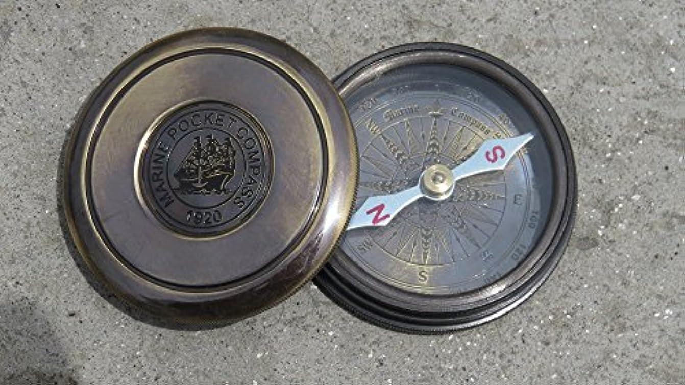 ふくろう適切に貝殻ヴィンテージ真鍮詩コンパスW /レザーcase- NAUTICALMART