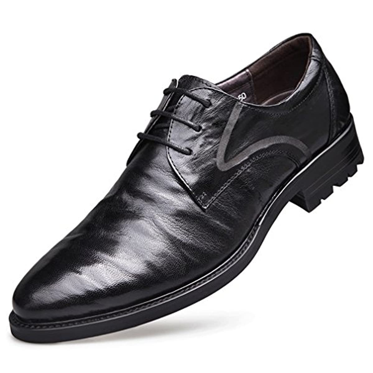ファンブルほとんどないゴールデン[スンル]ビジネスシューズ メンズ 紳士靴 ドレスシューズ 高級靴 エナメル フォーマル レースアップ 滑り止め 柔らかい 衝撃吸収 消臭 軽量 通気 屈曲性 結婚式 卒業式 就職 通勤 24.0cm-27.0cm 黒/...