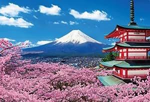 1000ピース ジグソーパズル 富士と桜咲く浅間神社 (49x72cm)