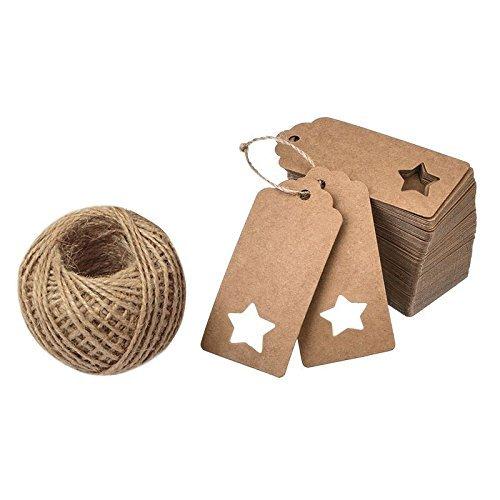 [해외]100 장 크래프트 종이 카드 태그 선물 장식 공예 태그 (크기 : 9.5cmx4.5cm) 별 모양 구멍 30M 마 紐付き 선물 공예 낮추 꼬리표 웨딩 파티/100 sheets Kraft paper cards tag gifts decorative craft tags (size: 9.5 cm x 4.5 cm) with star shape...