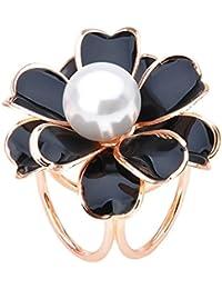 Hellery 女性 3リング 花 スカーフ バックル ブローチ リング ギフト クリップ ファッション