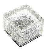 ガーデンライト,petforu  LEDライト ソーラー 太陽 充電式 昼間 自動充電 夜間 自動点灯 防水 氷塊型 LEDライト 埋め込み可 人気のキューブ型 おしゃれ 省エネ - ホワイト