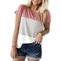 Miskely Women's Summer Short Sleeve Striped Blouse Junior Casual Tunic Tops T-Shirt