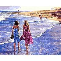 LovetheFamily ビーチの美しさ 数字油絵 数字キット塗り絵 手塗り DIY絵 デジタル油絵 40x50cm 手芸 画材 手工芸 キット 芸術 工芸 DIY 手作り 装飾品