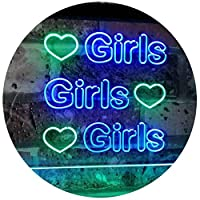 Girls Heart Bedroom Display Gift Dual Color LED看板 ネオンプレート サイン 標識 緑色 + 青色 400 x 300mm st6s43-i2223-gb
