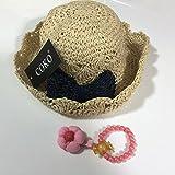 【セット商品】COKO4色 超可愛い麦わら帽子&ヘアクリップ&ブレスレット リボン飾り女の子用 日よけ/日除け/紫外線対策 UVカット 柔らかく折り畳めます