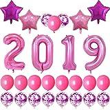 40インチ バラとピンク 2019 バルーン 新年パーティーバルーン 紙吹雪とピンクのバルーン 18インチ レーザーローズとピンクの星のバルーン 新年パーティーや卒業イベントや記念日パーティーのデコレーションに ローズ色