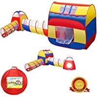 Kid Tent iCorer 4pc Pop Up Children Play Tent w/ 2 Crawl Tunnels & 2 Tents - Ball Pits for Boys Girls Toddlers for Indoor & Outdoor Use - Extra Large Children Playhouse w/ Zipper Storage Case
