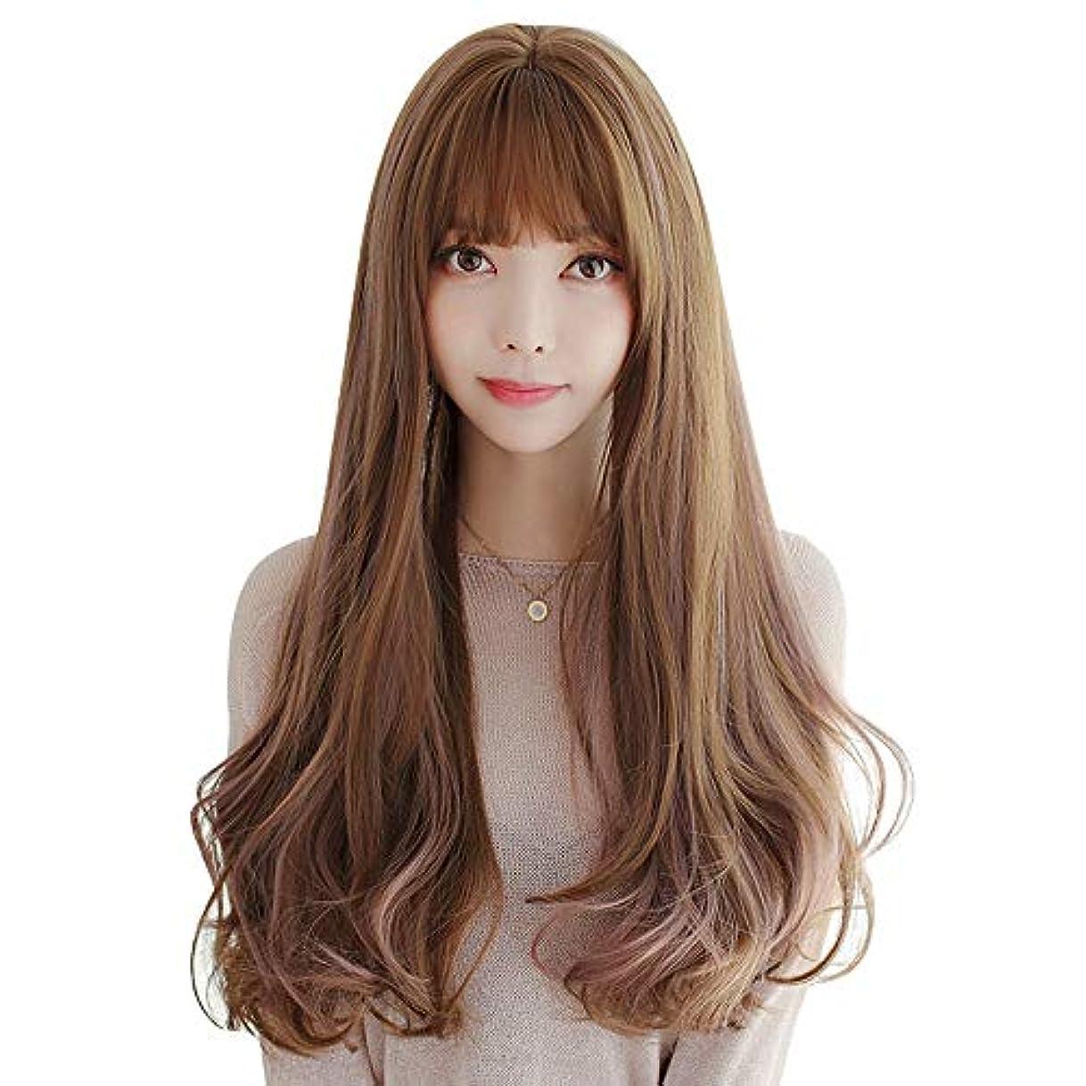 メガロポリスリーランデブーSRY-Wigファッション ヨーロッパとアメリカの女性の波状かつら前髪ミドル丈合成コスプレかつら日常用または衣装 (Color : 01, Size : フリー)
