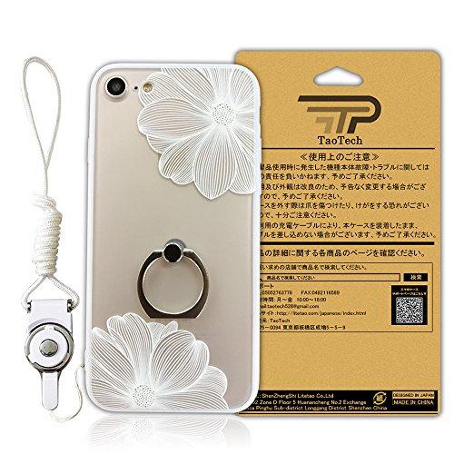 TaoTech iPhone6 6s リング ケース 落下防止 ネックストラップ 付 スタンド機能 ストラップホール 付 ?レース スマホ カバー (iPhone6 /iPhone6s, ホワイト/ハナ)