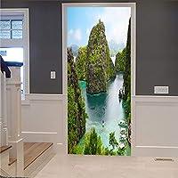 ドアの壁紙のステッカー3D DIYの改装された壁紙レトロ半覆われた木製のドア山川家の装飾インテリアドア写真取り外し可能な自己接着77x200cm