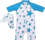 【Babystity】水着男の子子供ベビー星柄UPF50+帽子付き(ブルー,100)