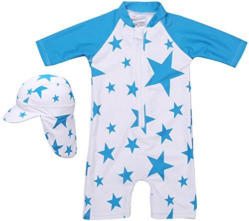 【Babystity】 水着 男の子 子供 ベビー 星柄 UPF50+ 帽子付き(ブルー, 80)