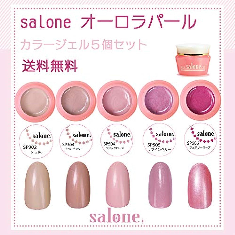 【送料無料 日本製】Salone オーロラパール カラージェル5個セット上品な輝きのパールカラー