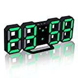 アディダス 時計 EAAGD 多機能 電子LED 3D 8888 デジタル目覚まし時計 掛け時計、12H / 24H時間表示 自動調節可能のLED明るさ 家の装飾卓上時計 新年の贈り物 (ブラック本体+グリーンライト)