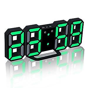 EAAGD電子LEDデジタル目覚まし時計 掛け時計、自動調節可能のLED明るさ (ブラック本体+グリーンライト)