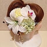 成人式 卒業式 結婚式にカサブランカ ダリア 丸菊 髪飾り5点セット グリーンホワイト