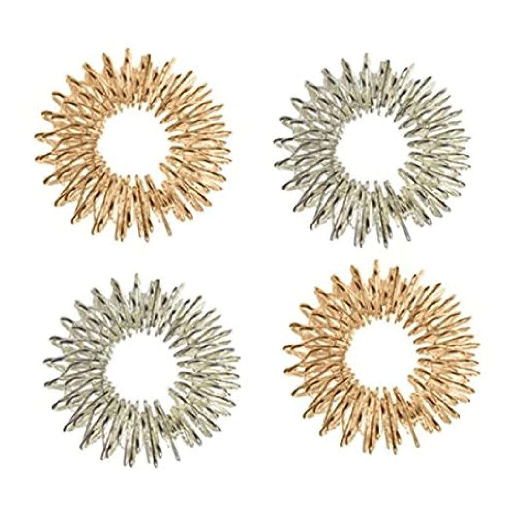 ジェームズダイソンエイズ名詞Healifty 4本指圧マッサージリング指の循環リング子供のための十代の若者たちの大人(シルバー+ゴールデン)