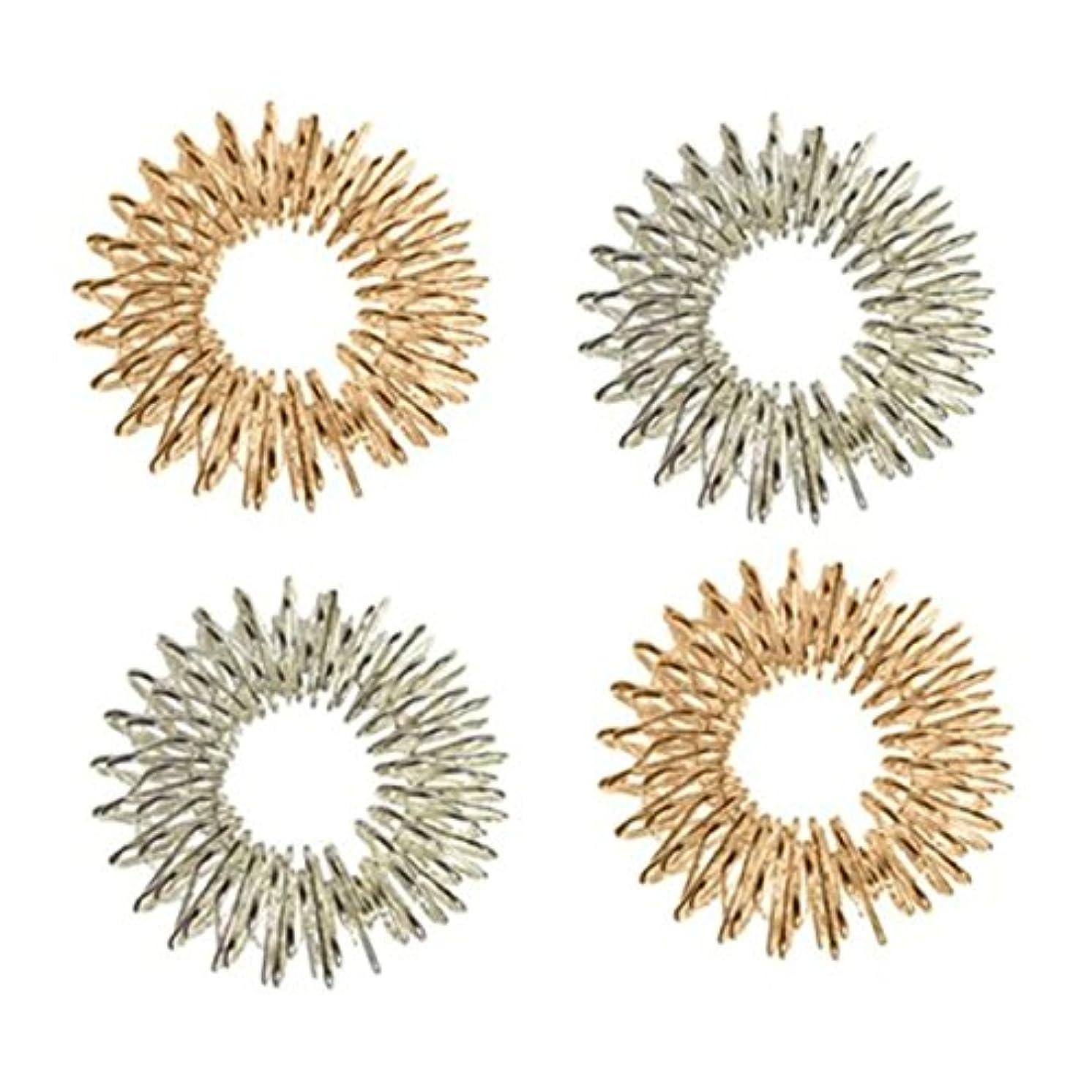 内部市の花レールHealifty 4本指圧マッサージリング指の循環リング子供のための十代の若者たちの大人(シルバー+ゴールデン)