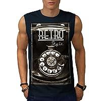 Wellcoda 電話 レトロ 写真 ビンテージ 男性用 海軍 XL 袖なしTシャツ