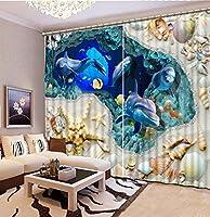 Wapel 遮光カーテン高品質のHD 3D印刷カーテン生き生きした視覚的な楽しさベッドルームリビングルームサンシェード窓カーテン240X260CM