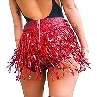 Women's Sequins Tassel Skirts Shorts Rave Festival Bottoms