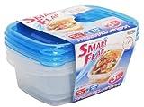 岩崎工業 食品保存容器 スマートフラップ角型3P ブルー 610ml 3個セット