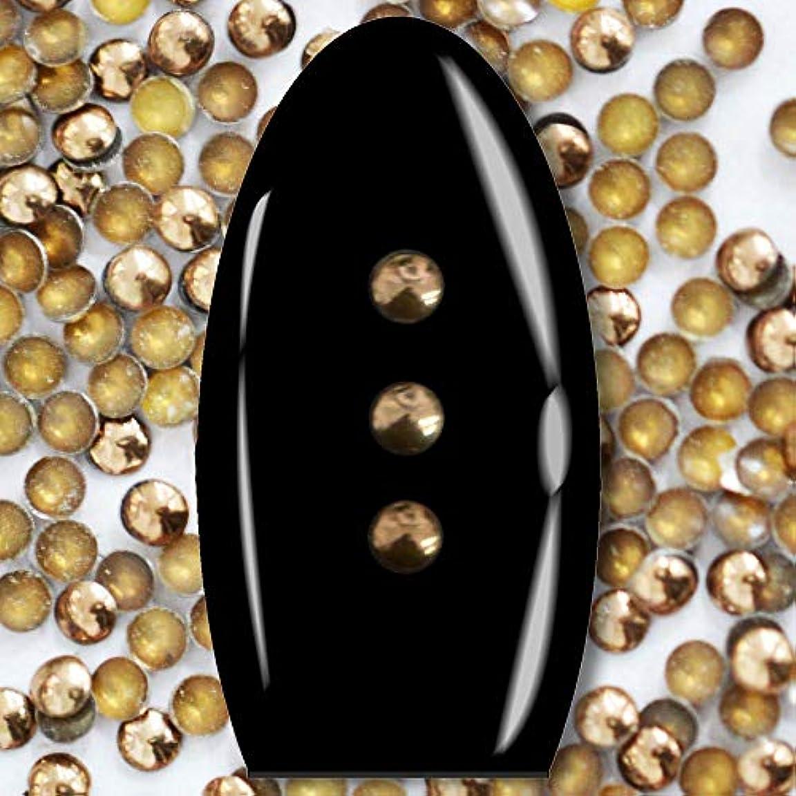 バイアス民族主義マットレスメタルスタッズ ネイル用 100粒 STZ026 ラウンド ブロンズ Φ2mm ぷっくり半球型