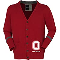NCAA Ohio State Buckeyesユニセックスボタンアップカーディガン、赤、L
