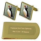 ツノメドリ鳥のゴールド・トーン カフスボタン お金クリップを刻まれたギフトセット