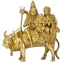 ガンジスインディア神シヴァwithファミリSeated on HisマウントNandi真鍮Statue