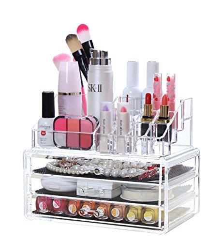 [해외]StorageWorks 아크릴 스토리지 박스 투명 메이크업 케이스 서랍 서랍 삼단 | 화장품 지갑/StorageWorks Acrylic Storage Box Transparent Make Case Drawer Drawer 3 Step | Cosmetic Bag