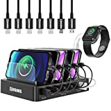 COSOOS USB Charging Station For iPhone, Charger Station With 5 Short lPhone Charger Cables,1 Type-C,1 Micro Cable,lWatch Stand,6-Port Charging Station For Multiple Devices,Tablet,Kindle(UL Certified)
