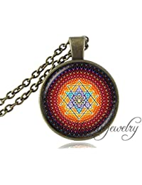 us-design1個Sri YantraペンダントインドMandala Sacred Geometry Sri YantraネックレスSpiritual Buddhist