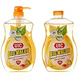 UIC Big Value Dishwashing Liquid Pump, Anti-Bacterial, 1000ml (Pack of 2)